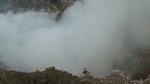 Looking in the crater of the Masaya vulcano Stock Video Footage