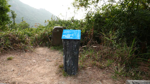 Pace control sign on the fitness track in the forest Stock Video Footage