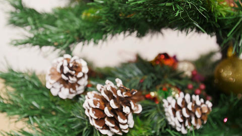 Decoration of Christmas tree red ball. Pan Stock Video Footage