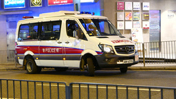 Police minibus with flashlight, turn and drive away Stock Video Footage