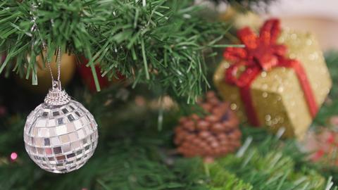 Decoration of Christmas tree mirror ball. Pan Stock Video Footage