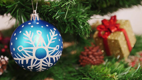 Decoration of Christmas tree blue ball. Focus Stock Video Footage