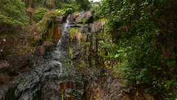 Panning shot of the tiny waterfall stream on rocky cliff Stock Video Footage
