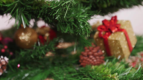 Decoration of Christmas tree blue ball Stock Video Footage