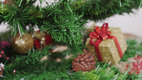 Decoration of Christmas tree old broken ball Stock Video Footage