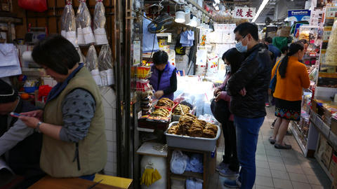 Couple choosing spices in the market, fish section Stock Video Footage