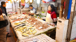 Store stall at sea food market, seller weight fresh fish... Stock Video Footage