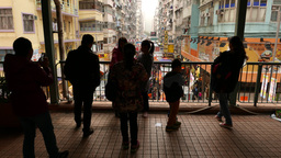People contours, watching down to crowded market area Stock Video Footage