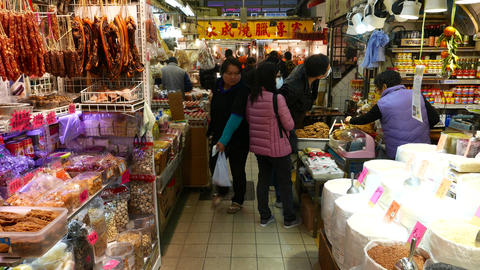 Food market, meat section, walking to boiled\grilled stall Stock Video Footage