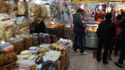 Food market, meat section, walking to boiled\grilled stall Footage