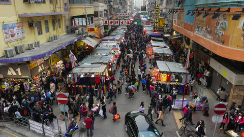 Top view on the street market. General plan view Stock Video Footage
