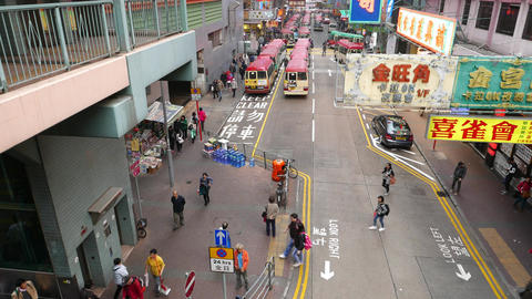 City street from top point, minibus parking far away,... Stock Video Footage