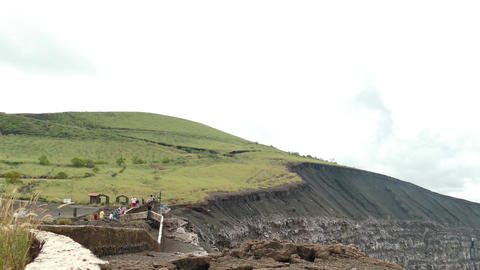 People watching at Masaya vulcano Stock Video Footage
