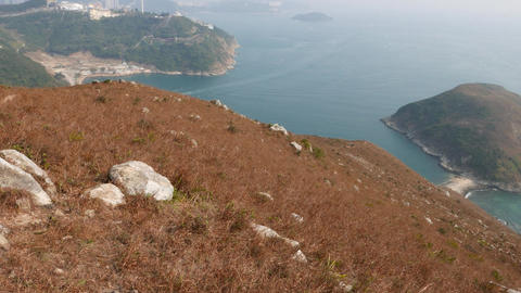 Fine perspective of small island from hill height, sea panorama Footage