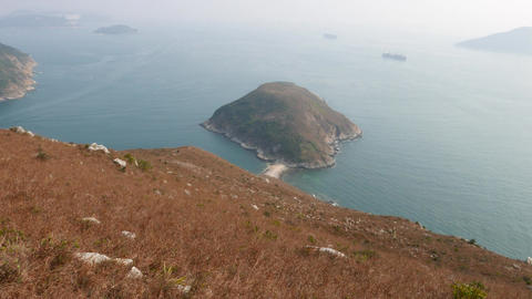Fine perspective of small island from hill height, sea... Stock Video Footage