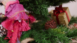 Decoration of Christmas tree witch doll toy Stock Video Footage