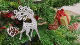 Decoration of Christmas tree deer toy Stock Video Footage