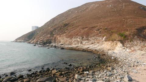 Nature-made sandy bridge between two islands: Ap Lei Chau... Stock Video Footage