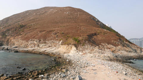 Nature-made sandy bridge between two islands: Ap Lei Chau and Ap Lei Pai Footage
