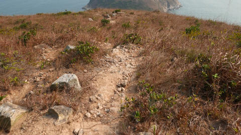 Dangerous climb down of wild track. Path lie down from Ap... Stock Video Footage