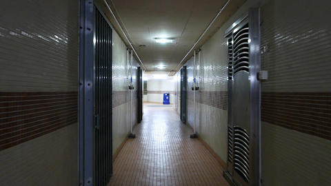 Walking empty passageway and hall to the night window of... Stock Video Footage