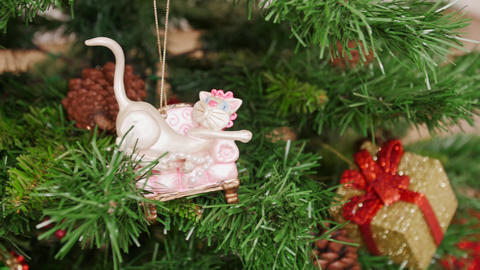 Decoration of Christmas tree cat toy. Pan Stock Video Footage