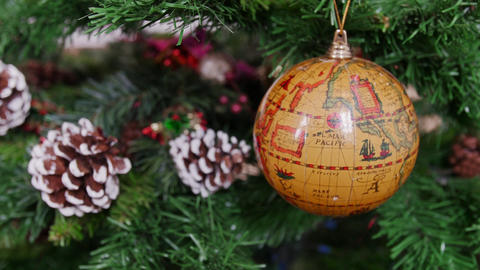 Decoration of Christmas tree globe earth ball. Pan Stock Video Footage