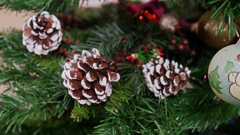 Decoration of Christmas tree old white ball. Pan Stock Video Footage