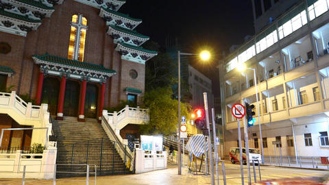 St Mary's Church in HongKong, slide shot in night time Stock Video Footage