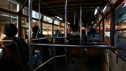 Inside shaky tram drive along night street, view from rear seat Footage