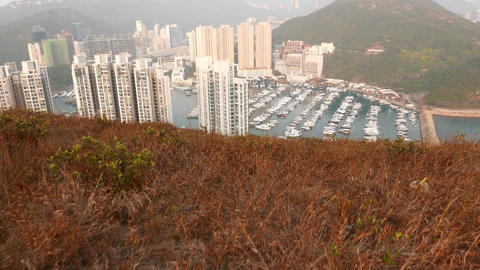 Look down from mountain top, high apartment towers,... Stock Video Footage