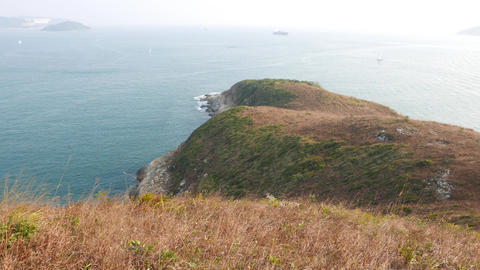 South China sea view from top of Ap Lei Pai island, hill peak Footage