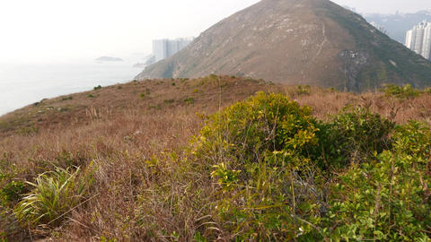 POV walk at hill of small island, dried bush tangle, mountain landscape ahead Footage
