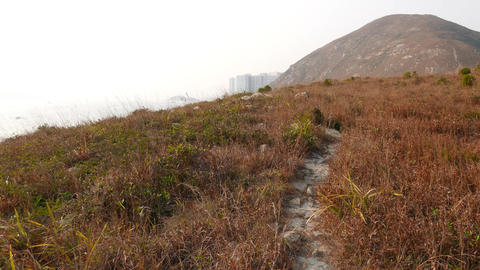 Trodden path lie over dry grass on top of island, small... Stock Video Footage