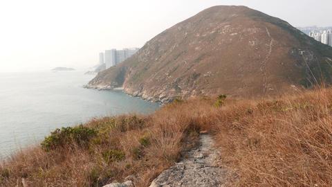 Mountain island landscape POV walk forward along trodden... Stock Video Footage