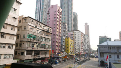 Variety of buildings in Hong Kong, Yen Chow street facades Stock Video Footage