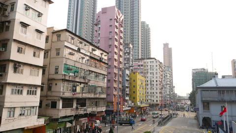 Variety of buildings in Hong Kong, Yen Chow street facades Footage