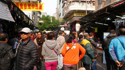 Promotion of the cleaning stuff on the busy market street Stock Video Footage