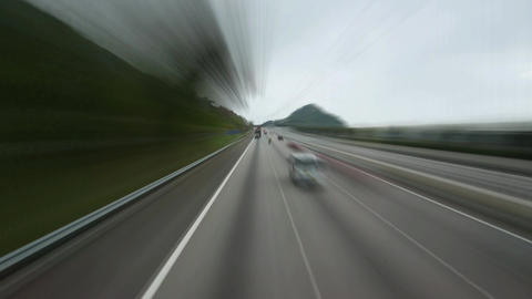 Drive along highway, slow motion time-lapse effect combination Footage