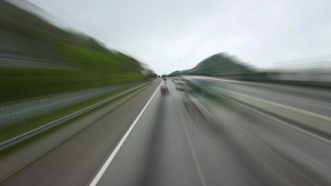 Drive along highway, slow motion time-lapse effect... Stock Video Footage