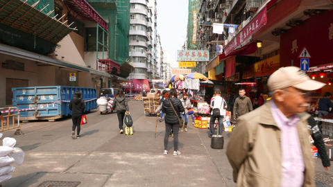 Typical busy street in distant district of HongKong city Footage