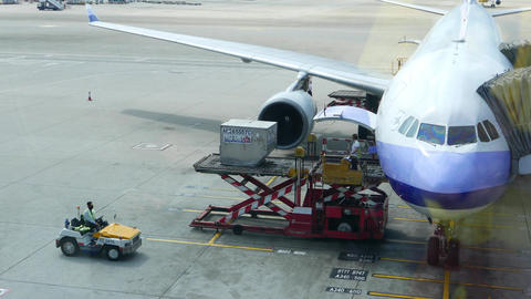 Luggage container lift up and loading into aircraft, flight preparation apron Footage