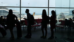 Airport passengers black silhouettes walk stand queue... Stock Video Footage