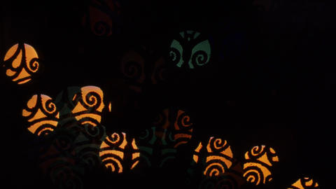 Whorl lights bokeh on black background. Shape Stock Video Footage