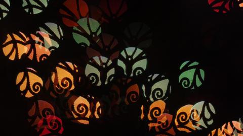 Whorl lights bokeh on black background. Shape Footage