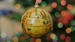 Globe earth blue ball shakes at background bokeh Stock Video Footage