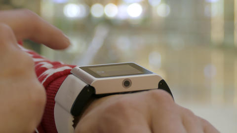 Woman Using Her Smart Watch , Indoor Footage
