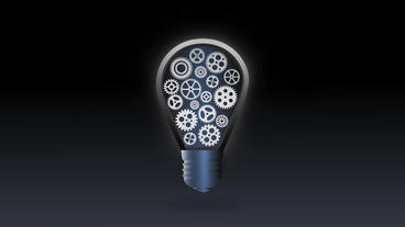 Mechanical Glowing Bulb Gear Flicker Animation For Intro And Logo Reveal stock footage