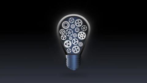 Mechanical glowing Bulb Gear flicker animation for intro and logo reveal - 1