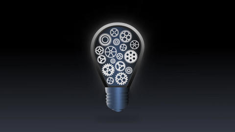 Mechanical glowing Bulb Gear flicker animation for intro and logo reveal After Effects Template